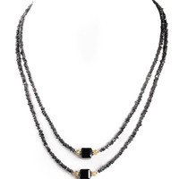47 Ct Certified Rough Black Diamond Beaded Necklace