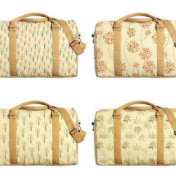 Tree and Leaves Pattern Print Oversized Canvas Duffle Luggage Travel Bag WAS_42