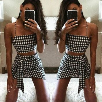 2019 Women Fashion Plaid Sleeveless Bandage Bodycon Short Crop Top+Skirt Outfit Set Cool Dress