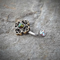 Tribal Green Bronze Belly Button Navel Ring Body Jewelry Fits in Navel 14ga Cute Belly Ring
