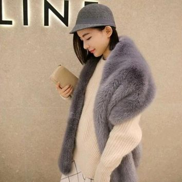 DCCKJG2 wide fur pashimina fake fur collar faux fox fur scarf raccoon fur shawl winter female fashion large shawl