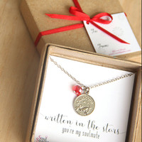 Best Friend, Soulmate, Capricorn Zodiac Sign Necklace -   Capricorn Necklace, Red Crystal, January Birthday Gift,  Capricorn Gift