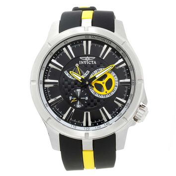 Invicta 20332 Men's S1 Rally Black Dial Black & Yellow Polyurethane Strap Watch
