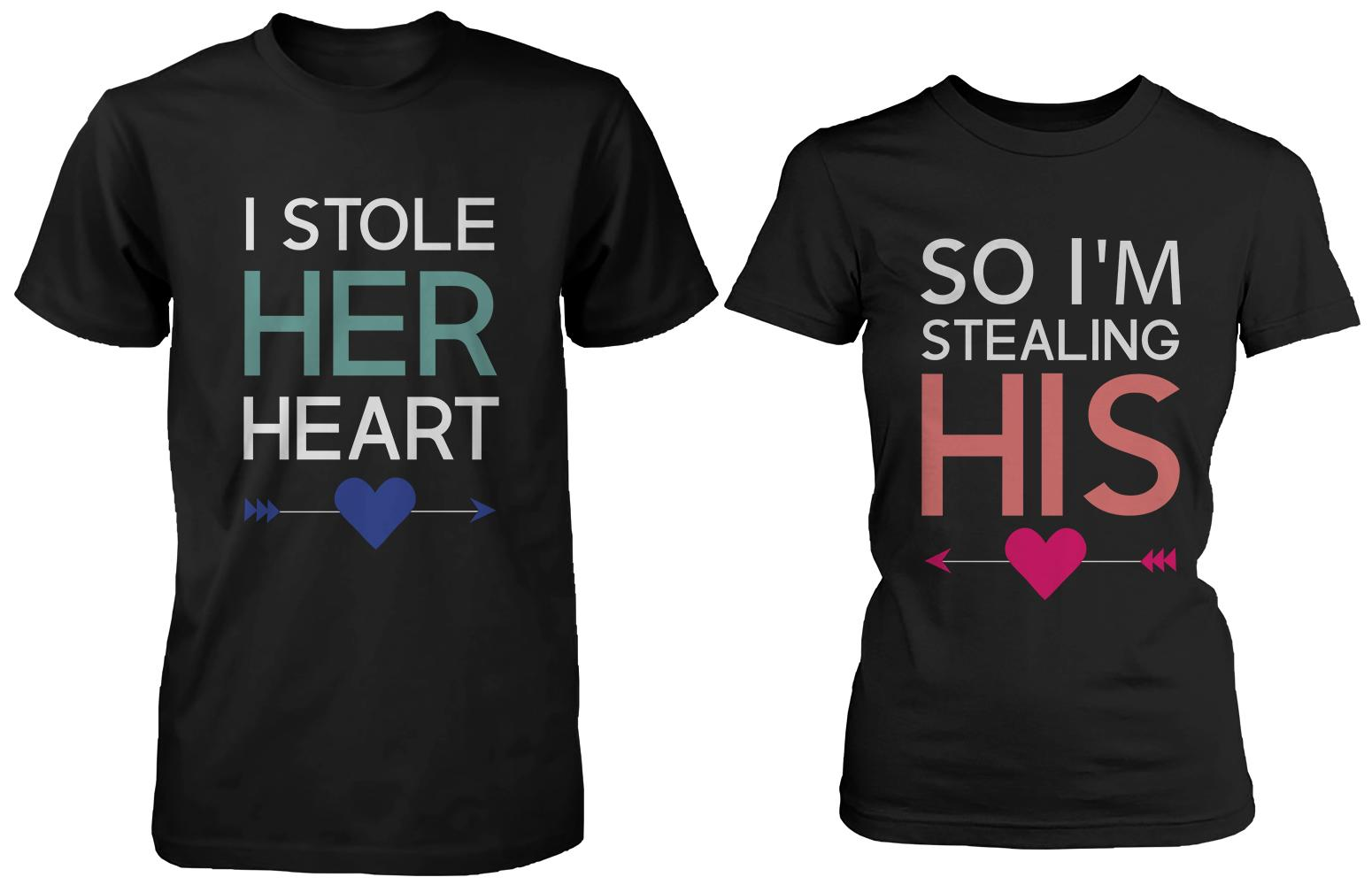 f9cd053cf I Stole Her Heart So I'm Stealing Heart Matching Couple Shirts (Set)