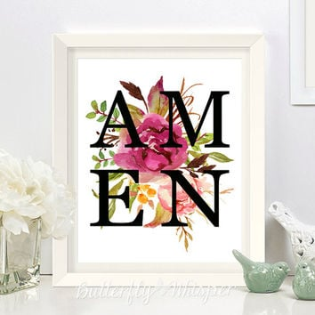Scripture print, AMEN print, Bible verse print art, Printable Bible verses for the wall, Wall Bible flower quote printable AMEN framed quote