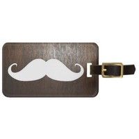 Funny White Mustache on oak wood background Bag Tags from Zazzle.com