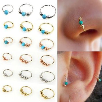 ac DCCKO2Q LNRRABC Stainless Steel Nostril Hoop Nose Ring Blue Stone Nose Earring Piercing Hip Hop Body Piercing Jewelry