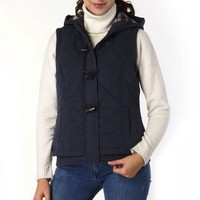 BGSD Women's Quilted Hooded Vest - Navy S
