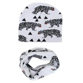 DCCKL3Z Toddlers Children Caps Scarves Set Winter Autumn Baby Hat knitted Girl Boy Cap Cotton Scarf