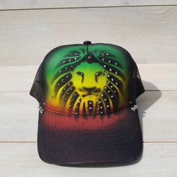 Lionhead airbrushed hat