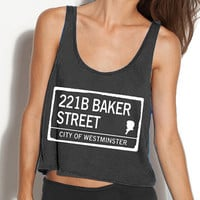 Sherlock Crop Tank - Fits Many Sizes Gift - Flowy Women Hipster Girls Teen Shirt  - 221B Baker Street