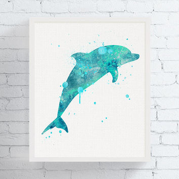 Dolphin Wall Art, Watercolor Dolphin Print, Dolphin Poster, Nautical Wall Art, Coastal Wall Decor, Sea Life, Nursery Wall Art, Gift Idea