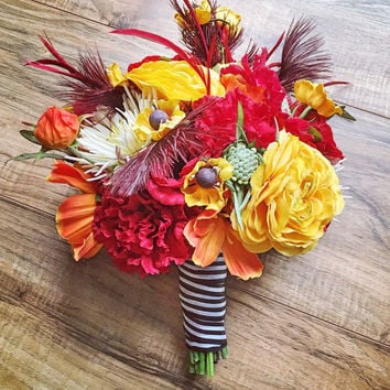 Warm Orange Red and Yellow Bridal Bouquet With Red Ostrich Feathers Prom Flowers