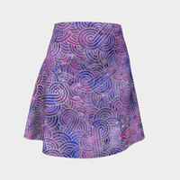 Purple and faux silver swirls doodles Flare Skirt Flare Skirt