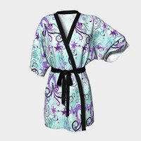 Deep Blue Sea, Japanese Silk or Chiffon Kimono Robe, Hot Sexy Ocean Themed Lingerie Gowns, S-M, L-XL