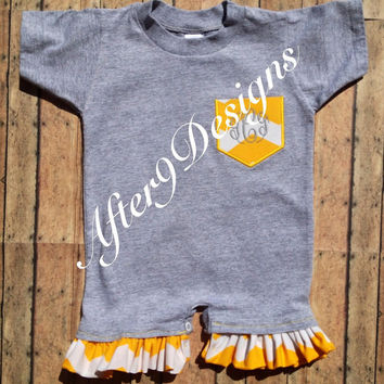 Infant toddler pocket tee Onesuit WITH RUFFLES by AfterNineDesigns