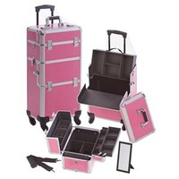 Professional Rolling Makeup Case w 4 Wheels - Pink Gator