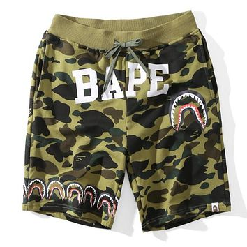 BAPE AAPE Trending Unisex Stylish Letter Shark Mouth Print Green Camouflage Sports Shorts I13553-1