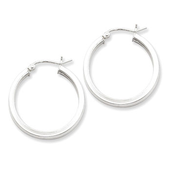 925 Sterling Silver Smooth Hollow Square Tube Hoop Earrings - 26mm