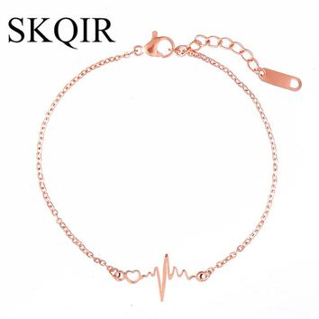 SKQIR Rose/Gold/Silver Stainless Steel Medical Heartbeat Bracelet For Nurse/Doctor Gift ECG pulseras Bracelets for Women Jewelry