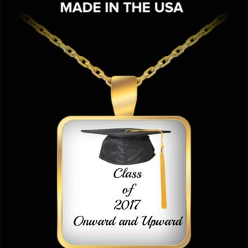 Class of 2017 Gold Square Pendant Necklace - Graduation Gift - Custom Printed Jewelry Statement Necklace