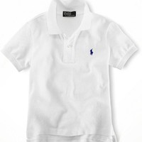 Polo Ralph Lauren Toddler Boys Classic Mesh Polo (2T, White)