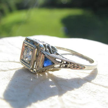 Art Deco Diamond Engagement Ring, Fiery Old European Cut Diamond, Blue Sapphire Side Stones, Elegant Filigree, Circa 1920s to1930s