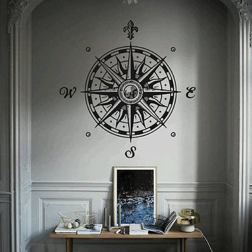 kik2982 Wall Decal Sticker compass living room bedroom