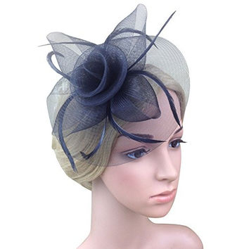 Weixinbuy Women's Fascinator Hat Clips Hairpins Wedding Party Hair Accessory