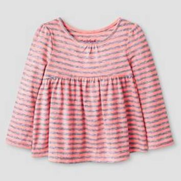 Baby Girls' Long Sleeve Peplum T-Shirt Peach - Cat & Jack™ : Target