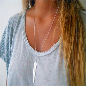 Women's Vintage Long Chain Feather Necklace; Silver or Gold Plate
