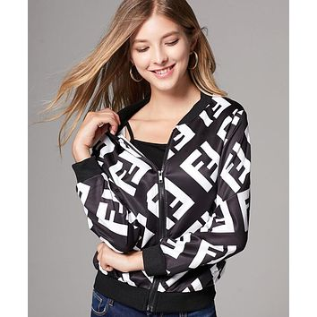 FENDI Fashion Women Casual Print Zipper Cardigan Jacket Coat Windbreaker