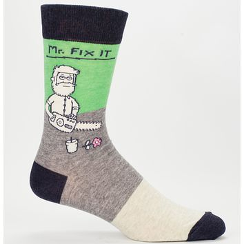 Mr. Fix It Men's Socks in Grey, Green and Black