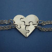 Heart Shaped Jigsaw Puzzle Necklaces - Personalized your Name or Initial - Set of 4 Best Friends Necklaces