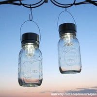 Mason Jar Solar Lights 2 CLEAR Hanging Solar by treasureagain