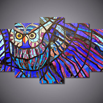 Owl Stained Glass Design 5-Piece Wall Art Canvas