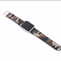 Camouflage Army Green Special Forces Genuine Leather Watch Band Strap for Apple Watch