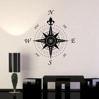 Wall Decal Compass Rose Home Decoration Geography Travel Vinyl Stickers (ig2906)
