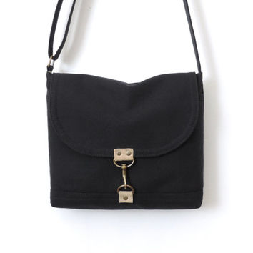 Canvas Satchel Bag Crossbody Purse Messenger Bag Black