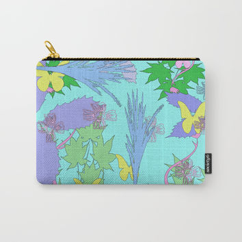 Flowers, Leaves and Butterflies Carry-All Pouch by Barbara Gelman