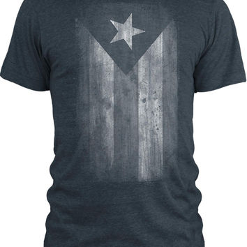 Big Texas Faded Puerto Rico Flag (White) Vintage Tri-Blend T-Shirt