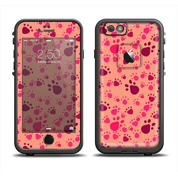 The Pink & Tan Paw Prints Apple iPhone 6 LifeProof Fre Case Skin Set