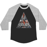 Def Leppard Men's  Brit Logo Baseball Jersey Grey/Black Rockabilia
