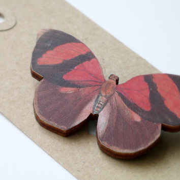 Red Butterfly Illustration Jewelry Laser Cut Wood Brooch