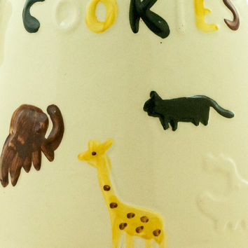 Vintage Cookie Jar USA American Bisque 1950s Animal Cookies Cookie Jar Zoo Circus Animals Giraffe Elephant Whale Panther Mid Century Kitchen