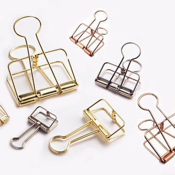 Gold/ Rose pink/ Silver Wire Binder Clip