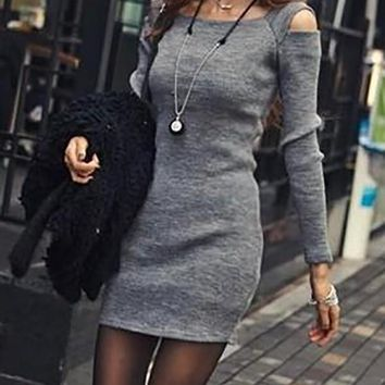 New Grey Patchwork Draped Long Sleeve Deep V-neck Casual Midi Dresse