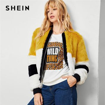 SHEIN Multicolor Elegant Workwear Cut And Sew Faux Fur Colorblock Zip Up Campus Jacket 2018 Autumn Casual Women Coat Outerwear