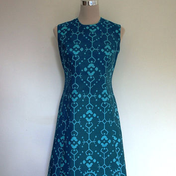 1960's shift dress. VINTAGE. Turquoise, green blue cotton. Excellent condition.