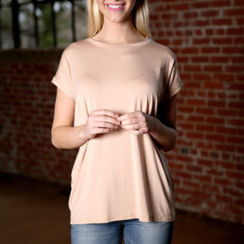 Piko Wide Sleeve Top - toasted almond